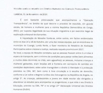 Mosaiko apela ao respeito aos Direitos Humanos na Operação Transparência